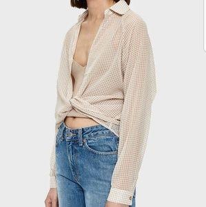 Farrow beige gingham blouse